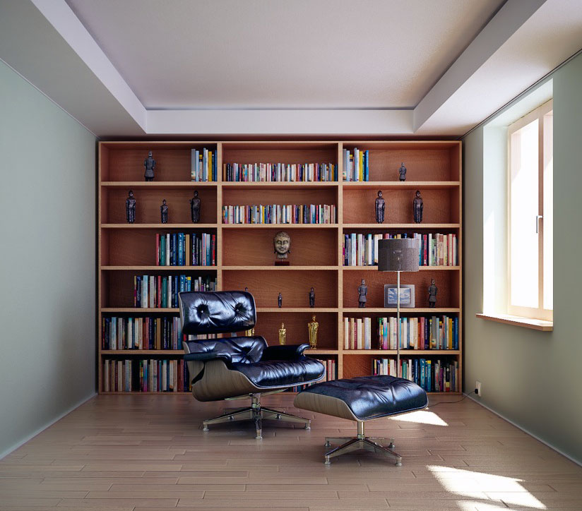 Modern Home Library Design Ideas: Masculine Home Library With Modern Leather Chair