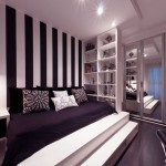Minimalist Bedroom with Platform Bed and Black White Striped Wall
