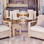 Minimalist Dining Room Lounge with Ash Wood Furniture