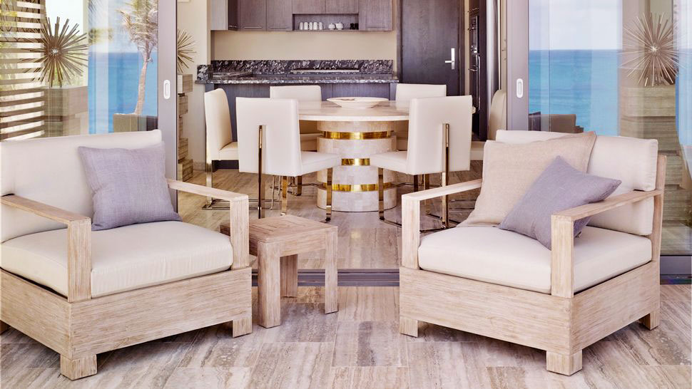 Minimalist Dining Room Lounge with Ash Wood Furniture - Interior