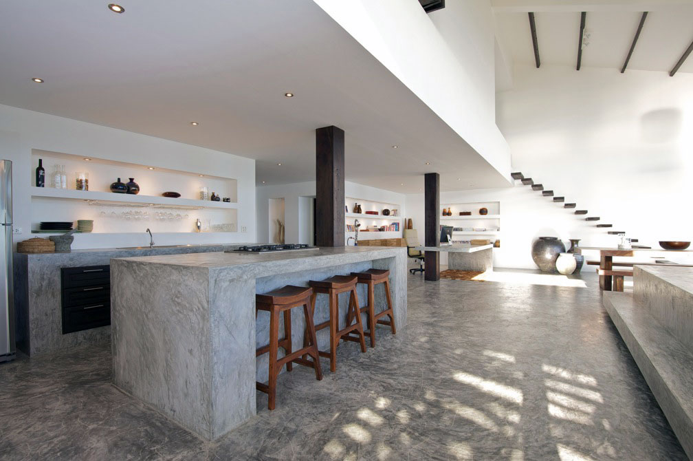 Minimalist gray concrete kitchen countertop design for Amazing tropical kitchen design