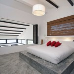 Modern Bedroom concrete Floor with Red Pillow Ideas