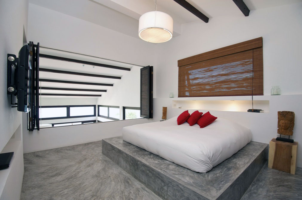 Modern Bedroom concrete Floor with Red Pillow Ideas ...