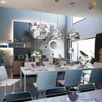 Modern Black White Open Dining Room