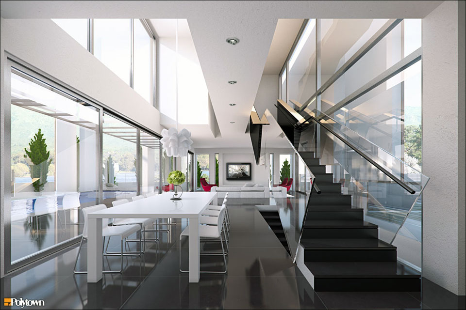 Modern Grey White Open Plan Dining Room