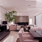 Modern Luxury Open Plan Dining Room Living Room with Crystal Rain Chandelier