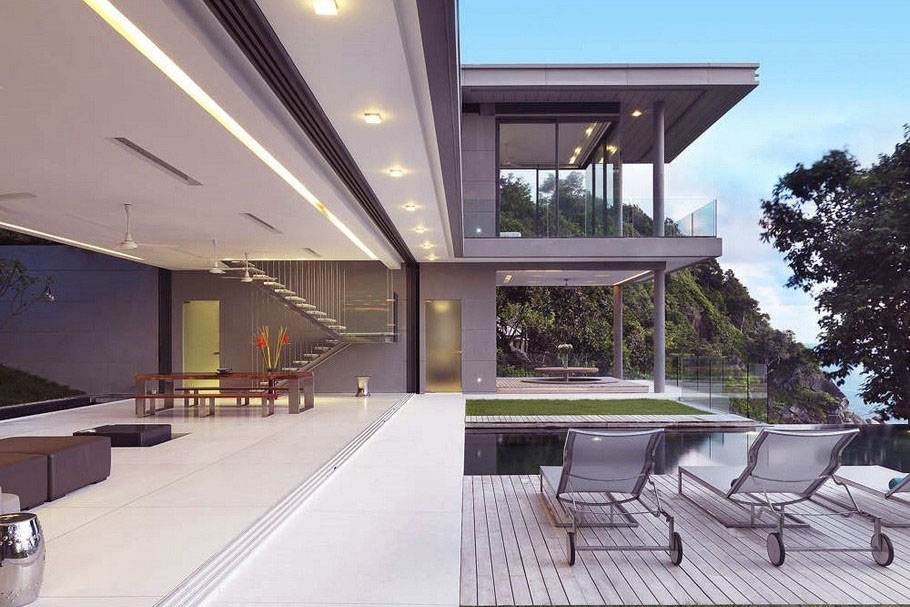 Modern Sun Deck Design Beside Swimming Pool Interior
