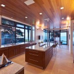 Modern Walnut Slab Ceiling Kitchen Units