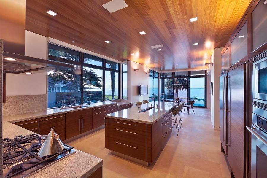 Modern Walnut Slab Ceiling Kitchen Units