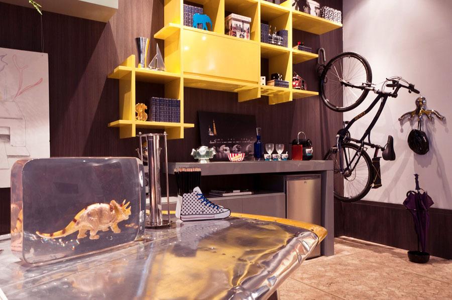 Modern Yellow Hanging Book Shelves Ideas