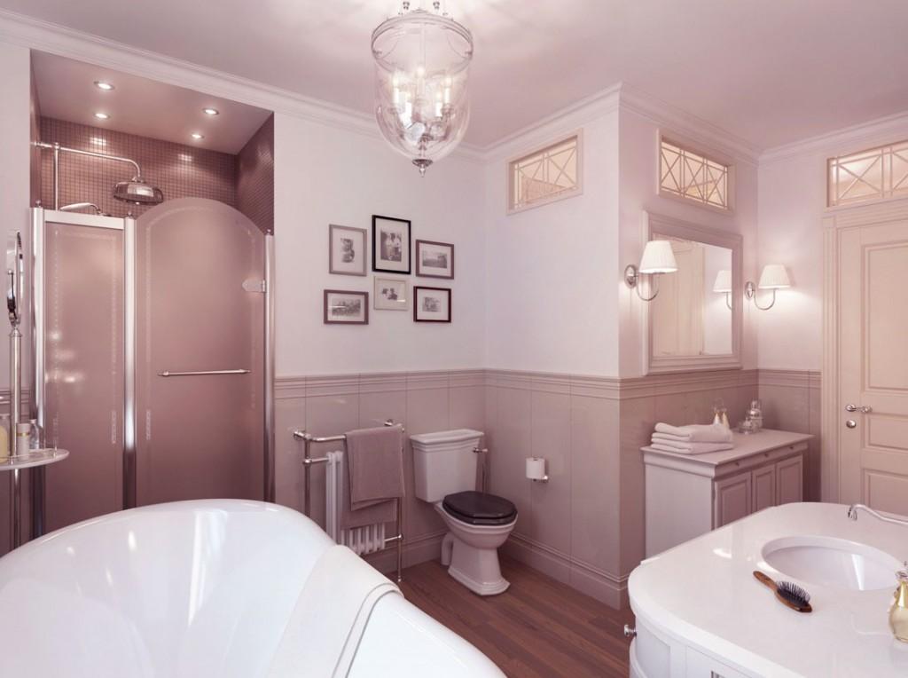 Neutral bathroom with wooden floor ideas interior design for Classic bathroom design