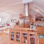 Open Plan Kitchen Ideas with Beech Furniture Set