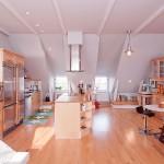 Open Plan Kitchen with Birch Wood Furniture