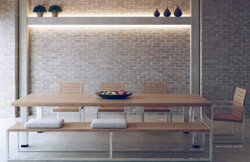 Original Exposed Brick Dining Room With Recessed Wall