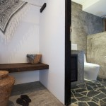 Rock Stone Tiles Floor on the Rustic Bathroom