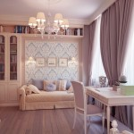 Shining Bedroom with Luxury Chandelier and Large Curtain