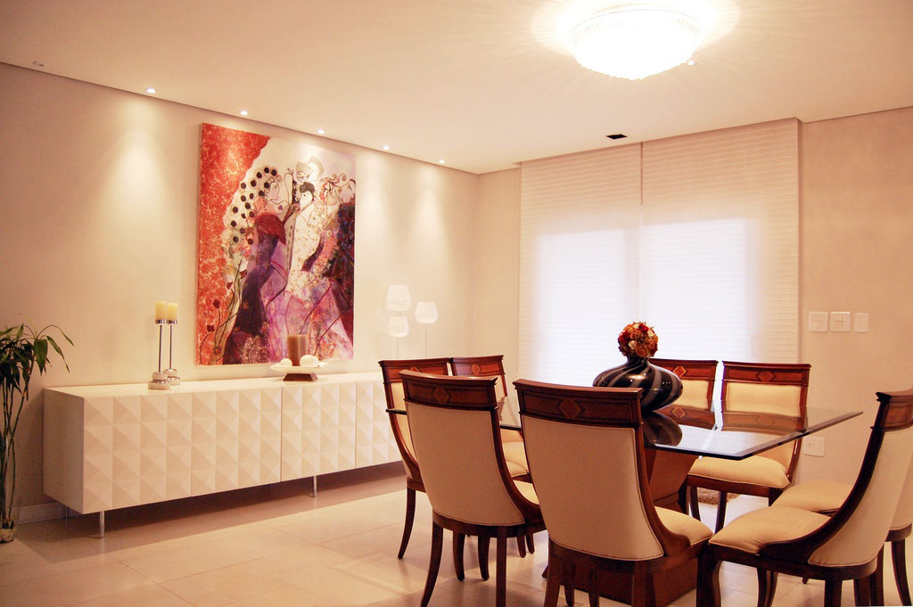 Shining Dining Room with White Contemporary Sideboard