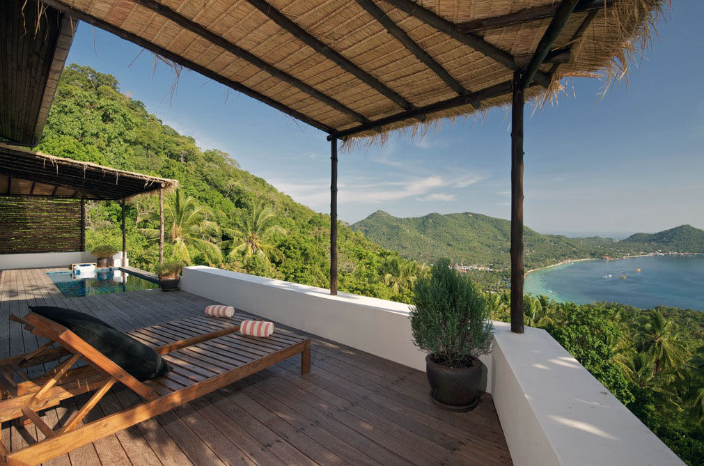 Tropical Deck Beside Swimming Pool with Beautiful Sea View