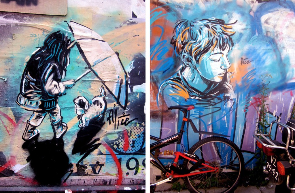 Urban Wall Mural with Girls Expression