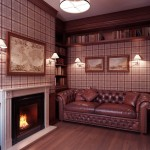 Warm Lounge With Fire Place and Brown Leather Sofa