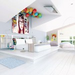 White Fun and Chic Bedroom with LCD TV on Ceiling
