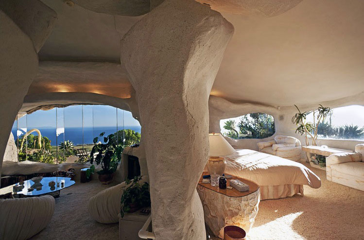White Plastered Walls of this Cave Flintstone House
