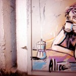 Woman Enjoy a Coffee at Wall Street Mural