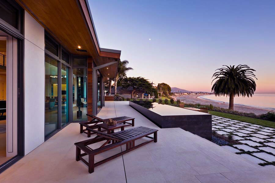 Wood Sundeck with Beautiful Sunset Beach View