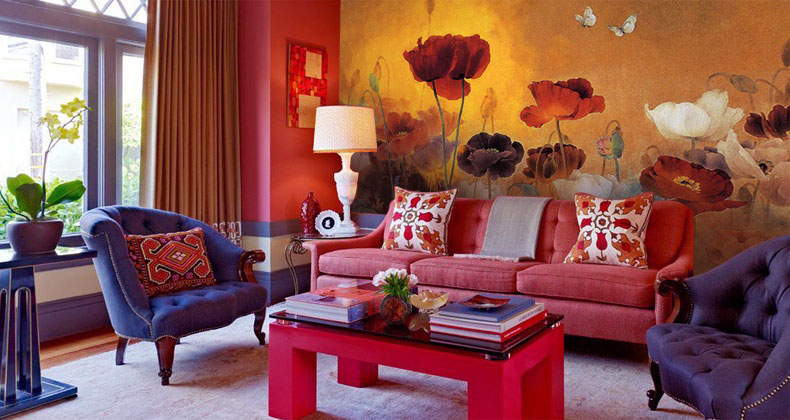 Beautiful Floral Wall Mural Living Room Design