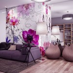 Beautiful Living Room with Gray Sofa and Pink Flower Wall Decor