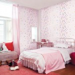Beautiful Pink White Dot Pattern Girls Bedroom