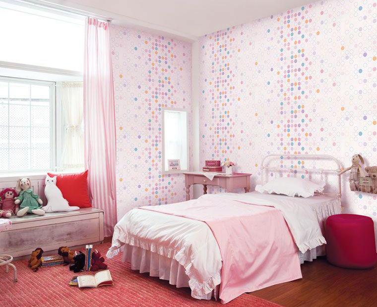 Beautiful Pink White Dot Pattern Girls Bedroom