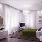 Beautiful White Green Bedroom with Wooden Floor