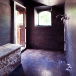 Black Bathroom with Old Style Villa in Italy