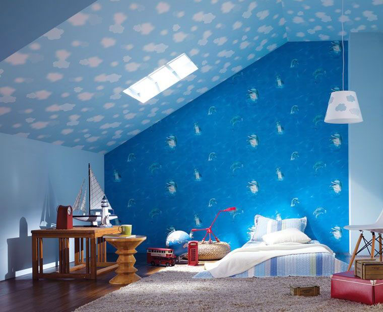 Blue Dolphin Wallpaper Clouds on Sloping Ceiling