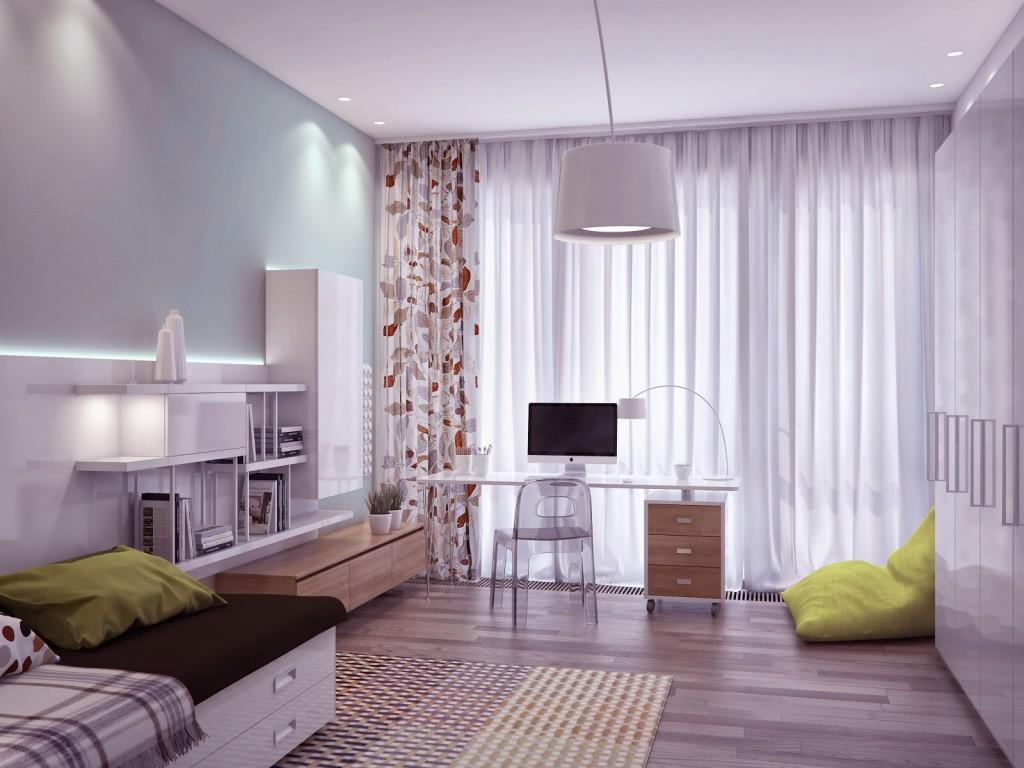 Bright Decor Scheme Bedroom with iMac Desk