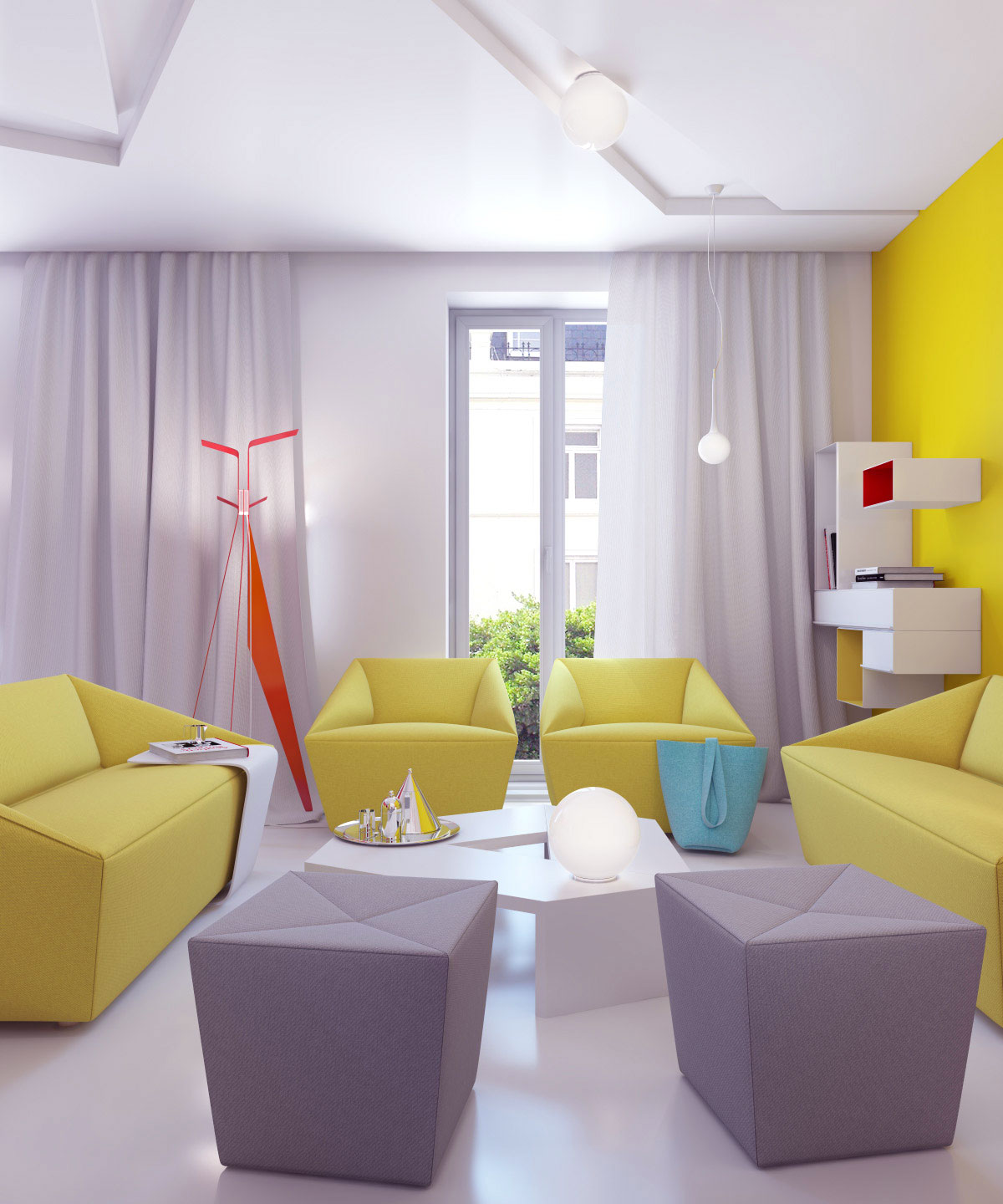 Bright color small apartment decor ideas interior design for Interior decoration and design influences