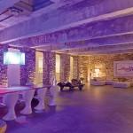 Bright Purple Lighting Adds a Hip Open Plan Kitchen Lounge