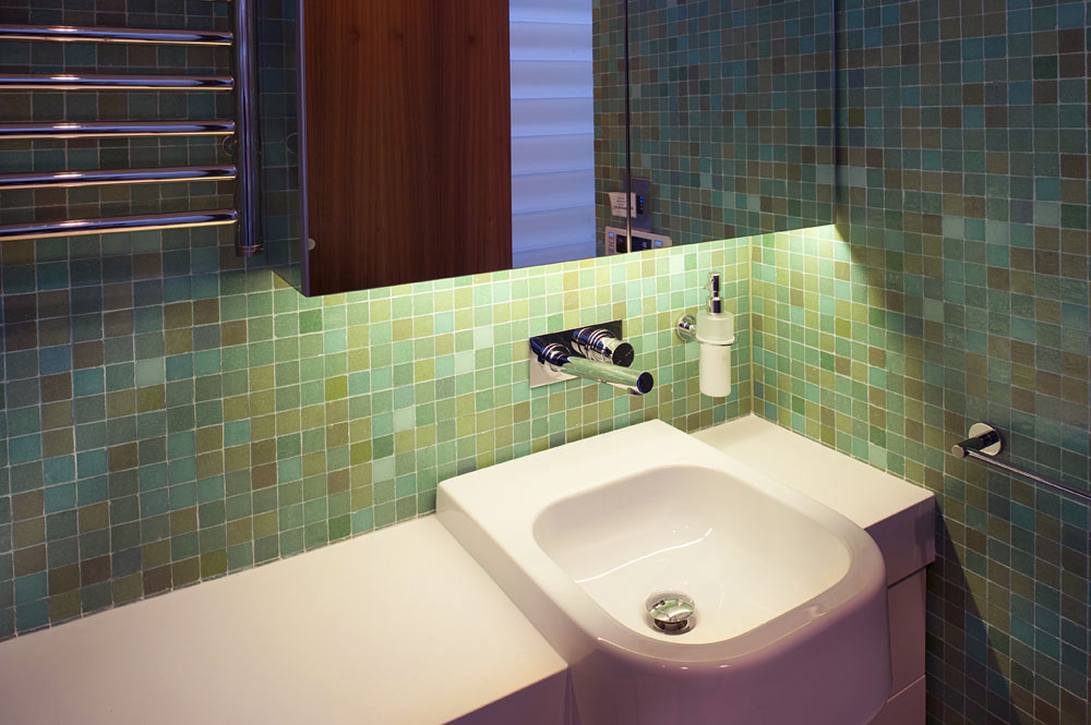 Bright Wash Basin Design with Tile Wall Ideas - Interior Design Ideas