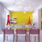 Contemporary Colorful Decor with White Dining Table