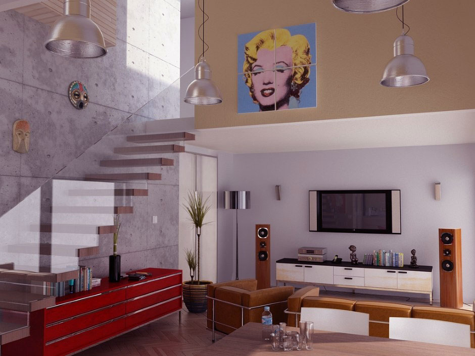 Contemporary Living Room Glass Balustrade Pop Art Ideas