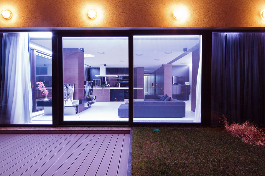 Contemporary Outside Space With Wood Deck
