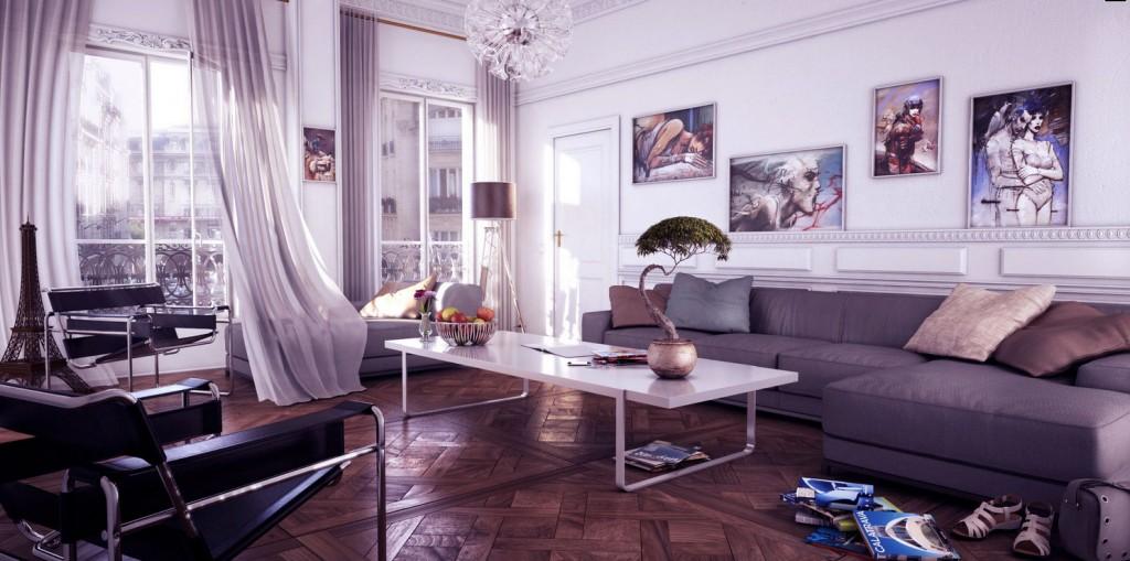 Contermporary Living Room Gray Chaise Lounge Sofa