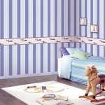 Cool Violet White Striped Walls Decor Kids Room