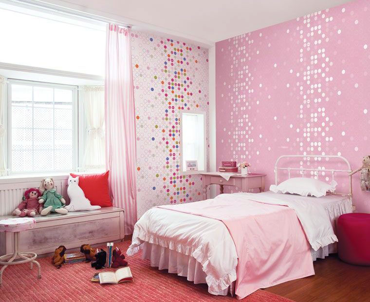 Cute Pink Dotty Wallpaper Girls Bedroom