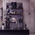 Elegant Dark Kitchen with Stainless Steel Sink Design