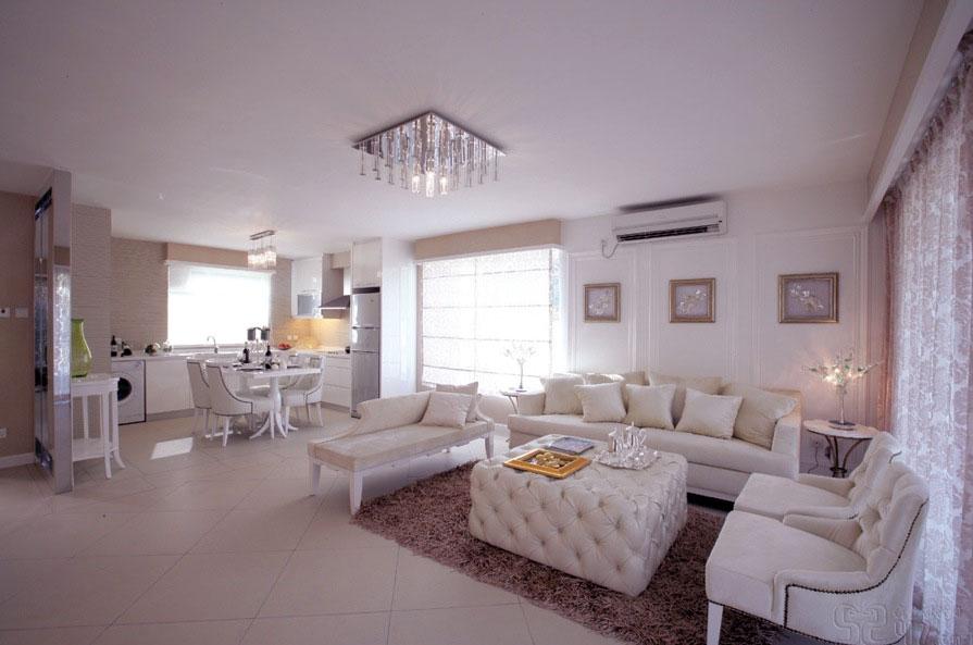Elegant Large White Living Room Kitchen Diner Ideas