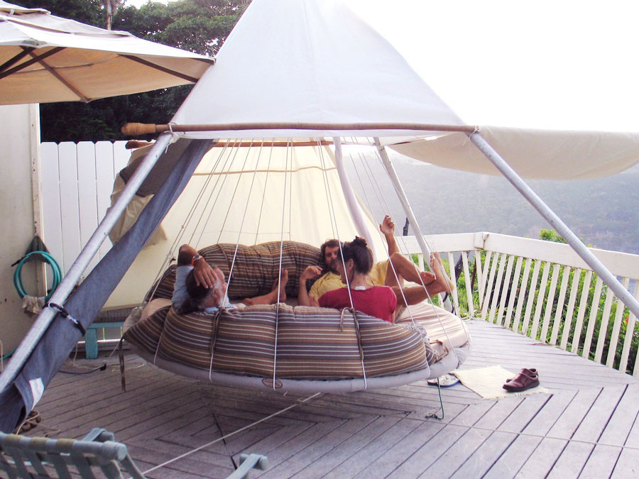 Floating Bed Patio Design with Hammock and Wood Deck ... on Floating Patio Ideas id=24797