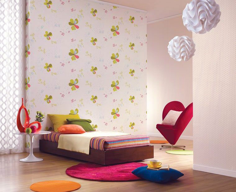Green And Pink Flower Modern Wall Decal Interior Design