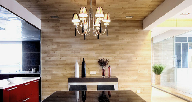 Kitchen Plywood Wall with Red Countertop